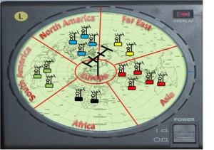 Figure 3:  One can certainly listen or transmit in all directions at once - toward all country-based IP addresses - but if it is necessary to turn the beam, artificial or real, you may direct your call to those on the band - or in the global chat room - based on their geographic location.  IP addresses are registered when checking into the DX Summit, which is rich DXCC-wise – with some 187 countries logging in every month.