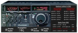 Figure 5:  Using the radio's front panel, whether a real radio or a PC screen, you can spin the dial on a virtual or real band but also command a remotely controlled radio. A propagation switch is set to desired band conditions where 1 simulates tough 160m conditions and the DX position opens 20m for solid 48-hour two-way contacts. A simplex / duplex switch is needed since many traditional operators may prefer talking in turns (simplex). A mode switch between public and private may serve the purpose as well.