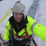 Finnish antenna workers are powered by Perkele. Pekka OH7RM up in the fog.